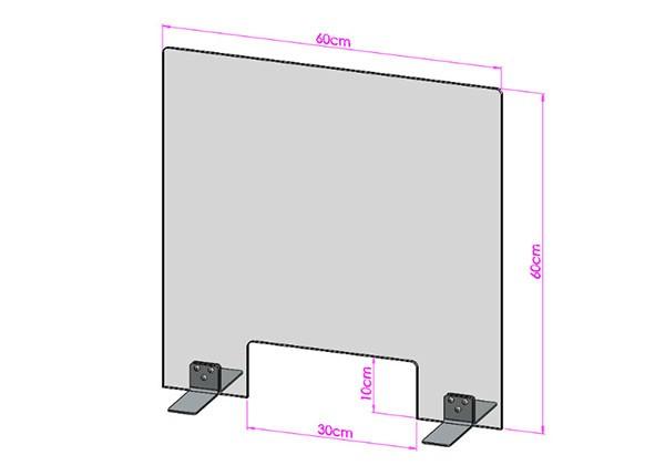 Acrylglas Spuckschutz-Scheibe - 60x60cm mit Durchreiche