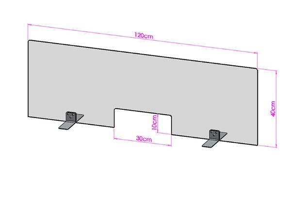Acrylglas Spuckschutz-Scheibe - 120x40cm mit Durchreiche