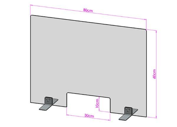 Acrylglas Spuckschutz-Scheibe - 80x60cm mit Durchreiche