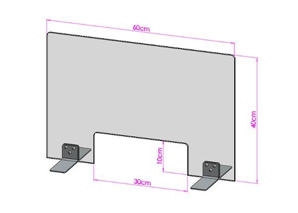 Acrylglas Spuckschutz-Scheibe - 60x40cm mit Durchreiche
