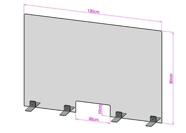 Acrylglas Spuckschutz-Scheibe - 120x80cm mit Durchreiche