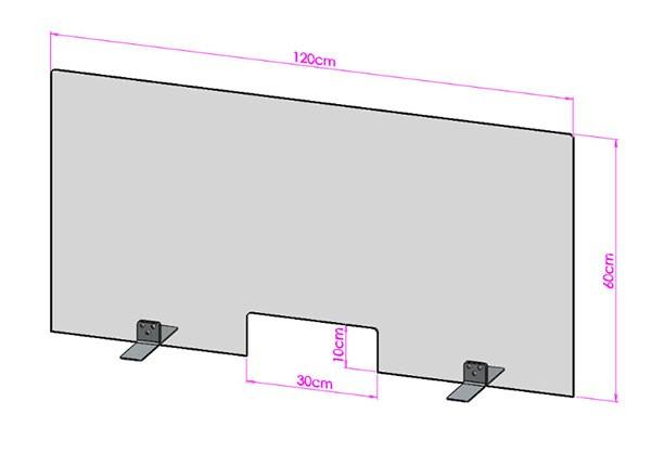 Acrylglas Spuckschutz-Scheibe - 120x60cm mit Durchreiche