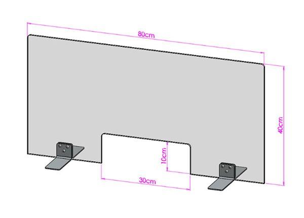 Acrylglas Spuckschutz-Scheibe - 80x40cm mit Durchreiche